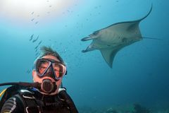 Scuba diver and Manta in the blue ocean background portrait. Happy scuba diver and Manta in the blue background while diving maldives royalty free stock images