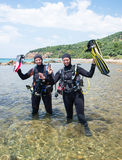 Happy Scuba Divers Stock Photography
