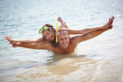 Happy scuba diving Royalty Free Stock Images