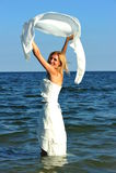 Happy sea bride stock photo