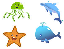 Happy Sea Creatures Royalty Free Stock Photography
