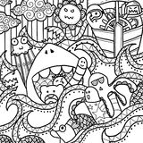 Happy Sea Doodle Stock Images