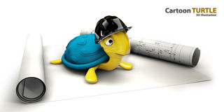 Happy sea turtle cartoon as foreman Stock Image