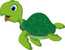 Happy sea turtle cartoon Royalty Free Stock Images