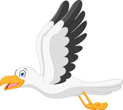 Happy seagull cartoon flying Royalty Free Stock Image