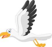 Happy seagull cartoon flying. Illustration of Happy seagull cartoon flying Royalty Free Stock Image