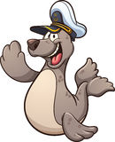 Happy seal. Happy cartoon seal wearing a captain hat. Vector clip art illustration with simple gradients. Seal and hat on separate layers Stock Images