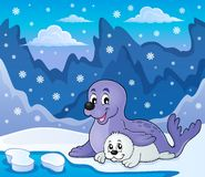 Happy seal with pup theme 3. Eps10 vector illustration Royalty Free Stock Photography