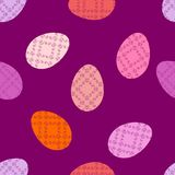 A happy seamless pattern for easter with eggs, in color, in vector, background wallpaper fabric. stock photos