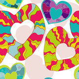 Happy  seamless pattern with hearts Stock Photo