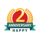 Happy second birthday badge vector icon. Stock Image