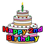 Happy Second Birthday Indicates Congratulating Celebration And Greetings Stock Image