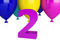 Happy Second Birthday. Purple number two isolated Stock Image
