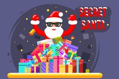 Happy secret santa claus shopping pile goods christmas gifts boxes flat design character vector illustration. Happy secret santa claus pile shopping goods vector illustration