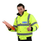 Happy security guard. Security guard with a red clipboard and a thumbs up sign, isolated on white stock photos