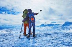 Happy selfie in winter Alps, Salzkammergut, Austria royalty free stock image