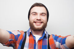 Happy selfie. Young man. Royalty Free Stock Images