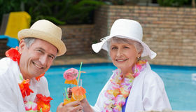 Happy senior. Couple drinking cocktails and toasting each other stock images