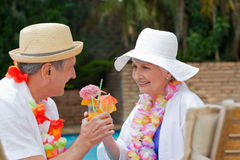 Happy senior. Couple drinking cocktails and toasting each other royalty free stock photography