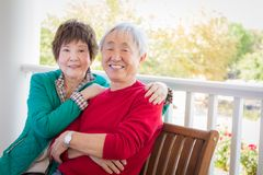 Attractive, Loving Senior Adult Chinese Couple Portrait. Happy Senior Adult Chinese Couple Portrait stock images