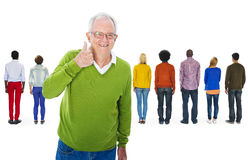 Happy Senior Adult and Rear View of Crowd stock image