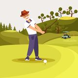 Happy Senior Bearded Man in Uniform Playing Golf. Putting and Celebrating Successful Shot Hitting Ball Down Hill Towards Horizon. Golf Swing On Green Playing vector illustration
