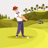 Happy Senior Bearded Man in Uniform Playing Golf vector illustration