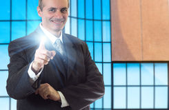 Happy senior business man smiling Stock Photo