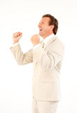 Happy senior businessman with arms up Stock Photography