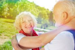 Happy senior caouple dancing in summer Stock Photography