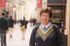 Happy senior caucasian woman travelling Stock Photo