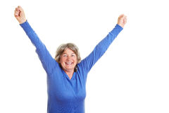 Happy senior citizen cheering Stock Photo