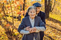 Happy senior citizens in the autumn forest. family, age, season and people concept - happy senior couple walking over royalty free stock photography