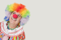 Happy senior clown looking up against gray background Stock Photo