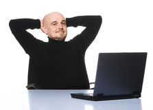 Happy senior with computer. Royalty Free Stock Photography