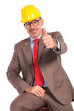Happy senior construction engineer making the ok sign Stock Photos