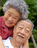 Happy senior couple. An intimate senior couple embraced Royalty Free Stock Photo