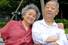 A happy senior couple. An intimate senior couple embraced Stock Photo