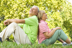 Happy senior couple. Relaxed on green grass back to back Royalty Free Stock Photography