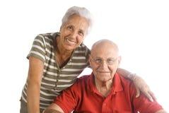 Happy senior couple. A loving, handsome senior couple on a white background Royalty Free Stock Photos