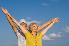 Happy senior couple. Happy smiling senior couple, faith, praise Royalty Free Stock Photos
