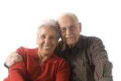 Happy senior couple. A loving, handsome senior couple on a white background Stock Photography