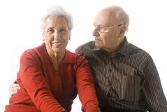 Happy senior couple. A loving, handsome senior couple on a white background Royalty Free Stock Photography