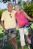 Happy Senior Couple on Bicycles In A Park Royalty Free Stock Photos