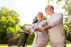 Happy senior couple with bicycles at summer park stock image