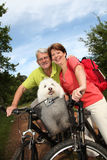 Happy senior couple on a bike ride Royalty Free Stock Photo