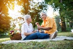 Happy senior couple celebrates anniversary in park Royalty Free Stock Photography