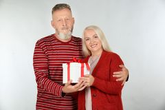 Happy senior couple with Christmas gift on light  background. Happy senior couple with Christmas gift on light background Royalty Free Stock Photos