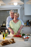 Happy senior couple cutting vegetables in kitchen Stock Images