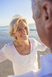 Happy Senior Couple Dancing on A Tropical Beach royalty free stock images
